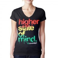 WOMEN'S RASTA HIGHER STATE OF MIND V-NECK - Shop Stoner Days
