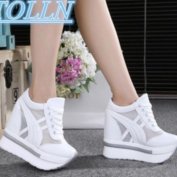 2017 Women Shoes Sexy Wedges Super High Heels 12CM Lace Up White Casual Shoes Women's