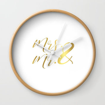 Mr Mrs Love Prints. Wedding Art Prints. Real Gold or Silver Foil Print. His and Hers Wall Art. Wall Clock by NikolaJovanovic
