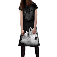 Wolves Short Sleeve T-Shirt Dress