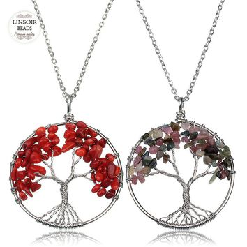 Chakra Tree Of Life Pendant Necklace Women Natural Stone Crystal Amethysts Agates Rose Quartzs Chain Necklace