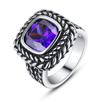 Stainless Steel Vintage Square Purple Cubic Zirconia Ring
