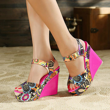 Fashion Wedge High Heel Ankle Strap Red PU Sandals
