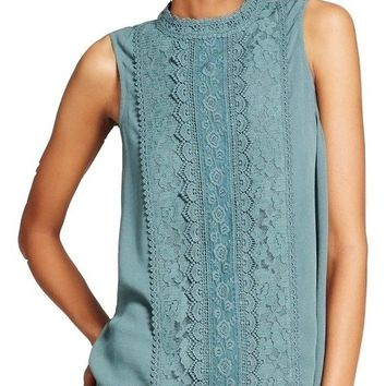Women's Junior's Lace Trim Mock Neck Tank Top, Green, Large (11/13)