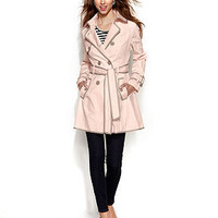 Betsey Johnson Double-Breasted Corset-Back Trench Coat