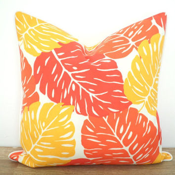 Orange outdoor pillow case modern outdoor decor, tropical outdoor cushion outside bench, yellow outside pillow piping leaf decoration