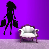 Wall Decals Vinyl Decal Sticker Mural Interior Design Fashion Woman With Bags Shopping Time Beauty Shop Salon Girl Kids Baby Room Decor KT90