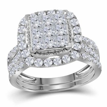 14kt White Gold Women's Princess Diamond Halo Bridal Wedding Engagement Ring Band Set 1-3-4 Cttw - FREE Shipping (US/CAN)