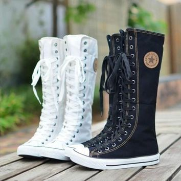 Day-First™ Canvas Boots Womens Sneaker Flat Tall Lace Up Knee High Zip Shoes