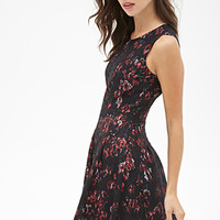 FOREVER 21 Rose Lace Fit & Flare Dress Black/Multi