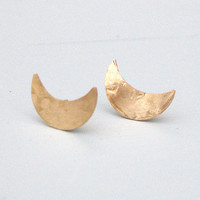 Brass Half Moon Earrings by Rachel Loves Bob