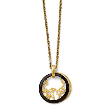 Stainless Steel Two Piece Circle Pendant Necklaces - Cable