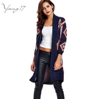 Young17 autumn winter Ethnic Knitted Cardigan dark blue long Sleeve Oversize fashion Cardigan young Girl Women fall Sweater Coat