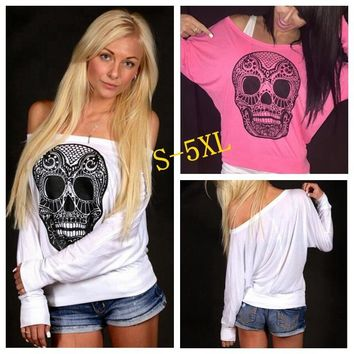 Spring Autumn New Women Loose Off Shoulder Long Sleeve T-shirt Casual Skull Printing Pullover Tops Plus Size 5XL