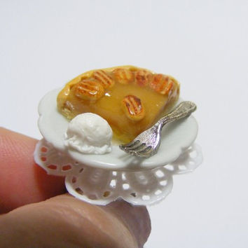 Scented or Unscented Pecan Pie Slice Miniature Food Ring - Miniature Food Jewelry,Handmade Jewelry Ring