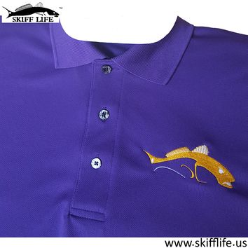 Skiff Life Purple Polo Fishing Shirt embroidered with Yellow White Redfish