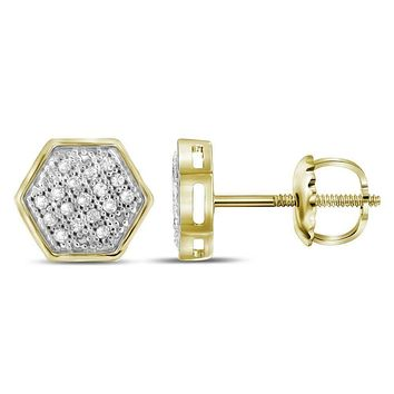 10kt Yellow Gold Womens Round Diamond Hexagon Cluster Stud Earrings 1-10 Cttw