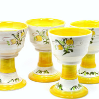 Vintage Stangl Pottery Tulip Yellow Goblets , Set of 4