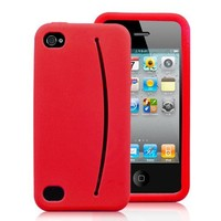 Feed Me Nifty Smiley Silicone Case For iPhone 4 and 4S RED