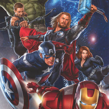 Avengers Cast Art Marvel Comics Poster 22x34