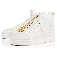 Louis Spikes Men's Flat Latte/Gold Leather - Men Shoes - Christian Louboutin