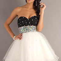 Short Strapless Baby Doll Prom Dress by Mori Lee