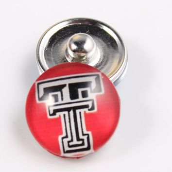 6pcs/lot Texas Tech Red Raiders T Logo 18mm Glass Snap Button Jewelry Cabochons Snap Charms Fit Snap Button Jewelry
