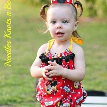 Girls Minnie Mouse Romper, Minnie Mouse Bubble Romper, Newborns, Toddlers