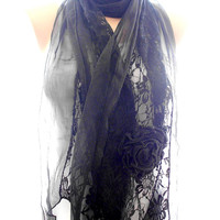 Lace scarf, black lace scarf,scarves for women, soft scarf, cozy scarf, trendy scarf