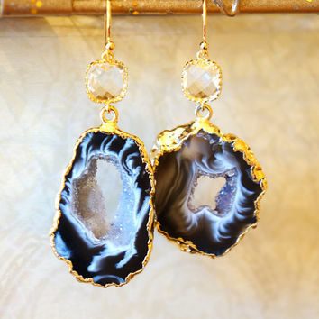 Shimmer Starry Night Geode Druzy Earring - Black - Agate Geode - Geode Earrings - Druzy