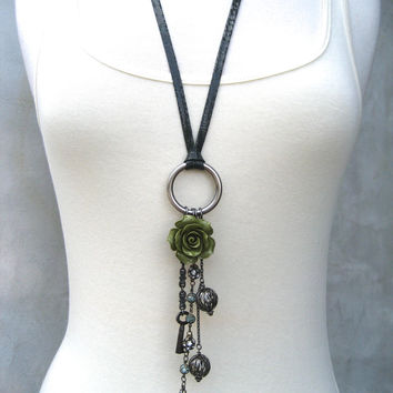 Assemblage Necklace  Charm Necklace  Boho Jewelry  by PieceLust