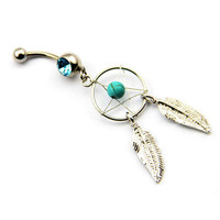 Crystal Gem Dream Catcher Belly Button Ring
