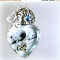 SALE Mom Jewelry Mommy Necklace Heart Locket Glass Photo Locket Family Necklace New Baby Jewelry Picture Locket Sterling Silver Personalized