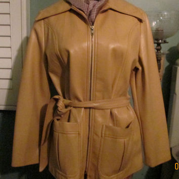 Vintage Faux Leather Butterscotch Belted Jacket / 70s Hip Classy Women Small / Mustard Yellow