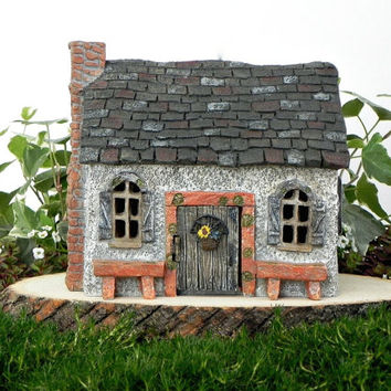 Fairy Cottage House - accessories - Miniature resin fairy garden supply - terrarium supplies - fairy house - sunflower cottage with benches