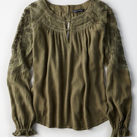 AE Embroidered Mesh Sleeve Top, Olive