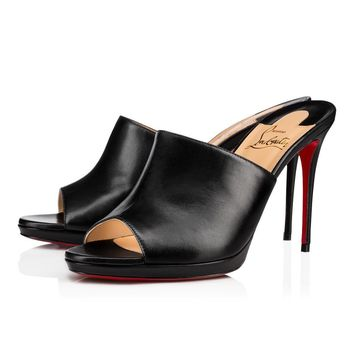 Christian Louboutin Cl Pigamule Black Leather 18s Sandals 1181020bk01