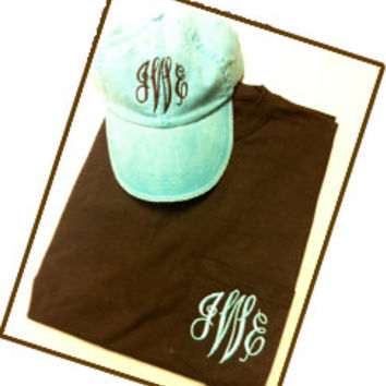Monogrammed Pocket Tshirt AND Hat Set- Short Sleeve Pocket Great for Bridesmaids, Teens, Graduation, Best Friends, Greek, and Birthday Gifts