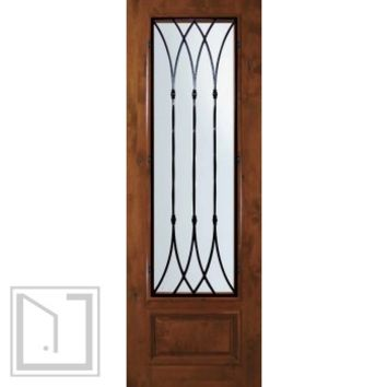 Slab Single Door 96 Wood Alder Warwick 1 Panel 3/4 Lite Wrought Iron