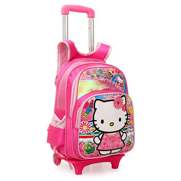 Hello Kitty Kids Trolley School Bags for Girls Boys School Backpack Children's Bckpacks on Wheels Child Travel Bag mochilas