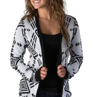 Derek Heart Women's White & Black Aztec Long Sleeve Sweater Cardigan
