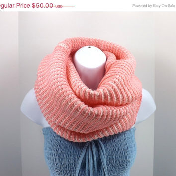 FALL SALE Stylish cozy hand knitted striped cashmere pink and white infinity scarf, fall winter two toned scarf, pink infinity scarf 2013