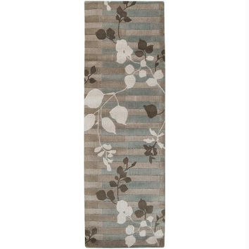 Area Rug - 2.5' X 8' - Colors Include Black Olive, Mushroom,peach Cream,oatmeal,foggy Blue,elephant Gray And Stone