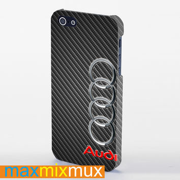 Audi Logo On A Field Of Simulated Carbon Fiber iPhone 4/4S, 5/5S, 5C Series Full Wrap Case