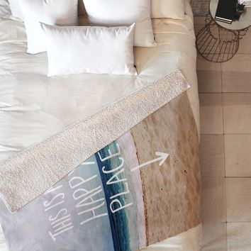 Leah Flores Happy Place X Beach Fleece Throw Blanket