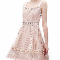 Pink Cut Out Lace Back Zip Skater Dress