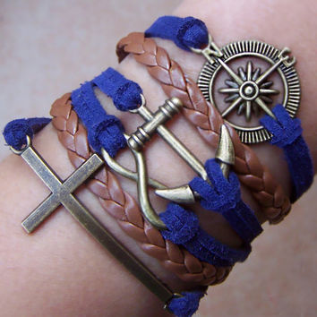 Charm Bracelet 262: Leather Braid Bracelet Anchor Bracelet, Cross Bracelet, Infinity Wish Bracelet, Compass Bracelet
