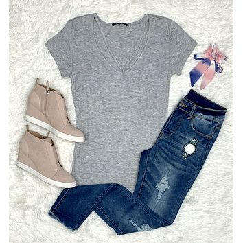 Goes With Everything V-Neck Top - H. Grey