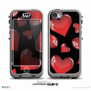 The Glossy Red 3D Love Hearts On Black Skin for the iPhone 5c nüüd LifeProof Case