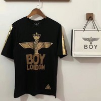 BOY LONDON men and women couple models crown gilded diamond eagle short-sleeved T-shirt F-AA-XDD Black + gold logo